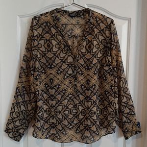 a.n.a Blouse with Yellow, Blue & White Pattern